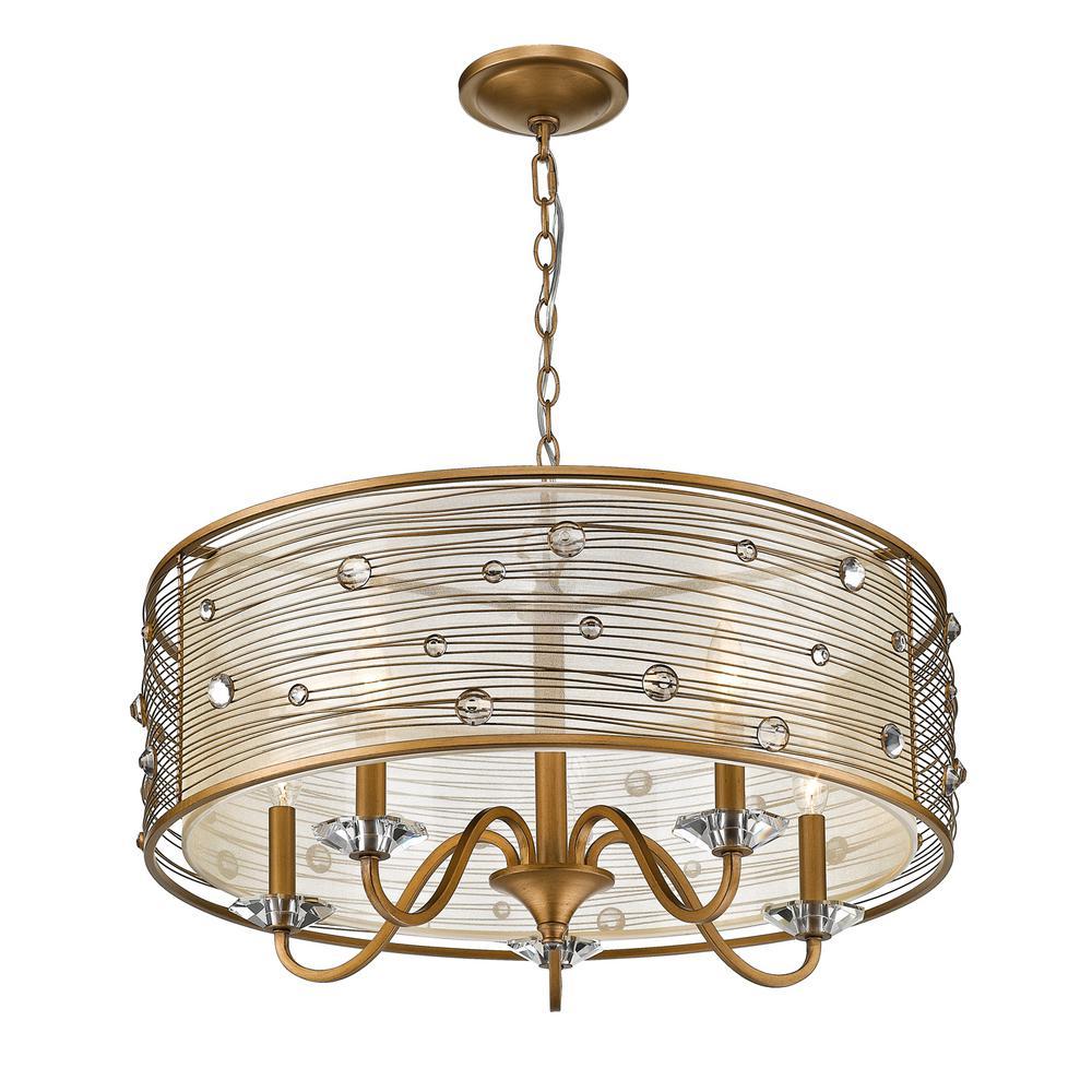 Joia 5-Light Peruvian Gold Chandelier Light with Sheer Filigree Mist Shade