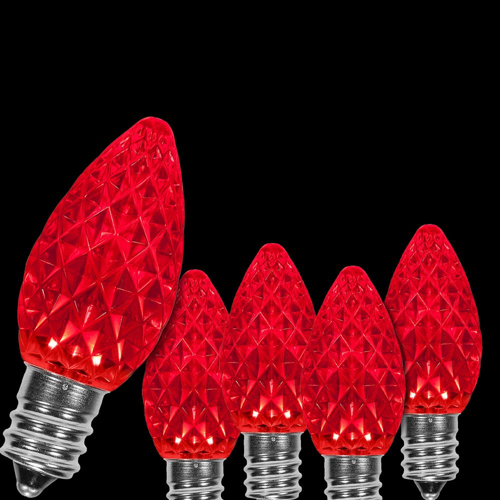 Wintergreen Lighting OptiCore C7 LED Red Faceted Christmas ...