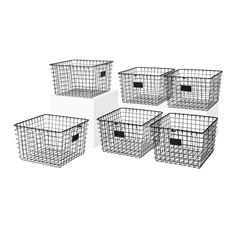 13.75 in. D x 11.25 in. W x 8 in. H Black Medium Steel Wire Storage Bin Basket Organizer (6-Pack)