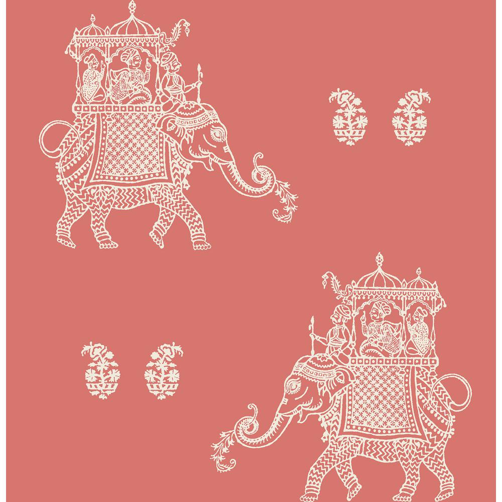 Caravan Peel and Stick Wallpaper Sample, Red