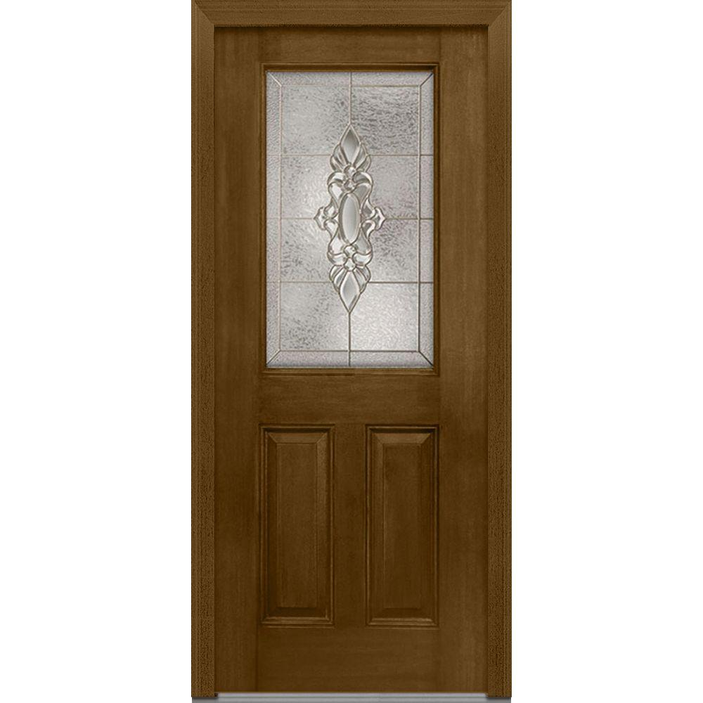 36 in. x 80 in. Heirloom Master Left-Hand Inswing 1/2-Lite Decorative