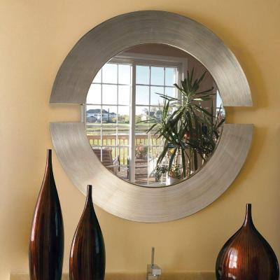 Medium Round Beveled Glass Contemporary Mirror (38 in. H x 38 in. W)