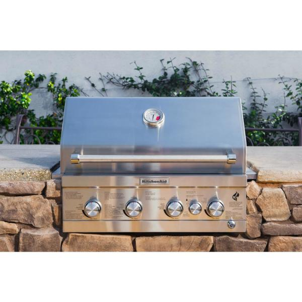 Kitchenaid 4 Burner Built In Propane Gas Island Grill Head In Stainless Steel With Rotisserie Burner 740 0780 The Home Depot