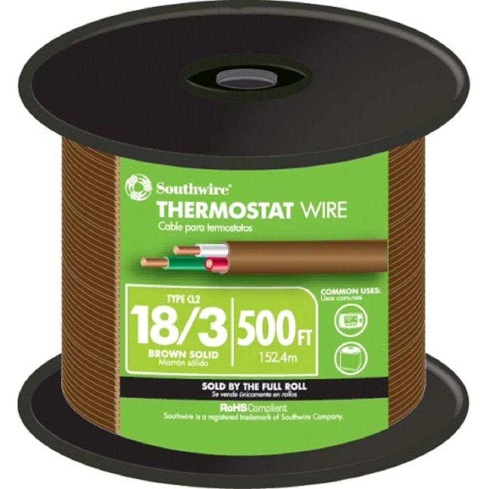 500 ft. 18/3 Brown Solid CU CL2 Thermostat Wire