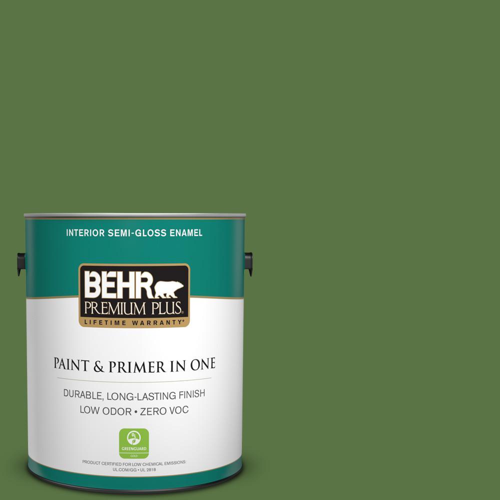 1-gal. #420D-7 Dill Pickle Zero VOC Semi-Gloss Enamel Interior Paint