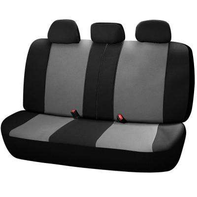 Journeyman Class Poly Flat Cloth 26 in. L x 55.9 in. W x 31.5 in. H Bench Seat Cover Set in Black and Gray