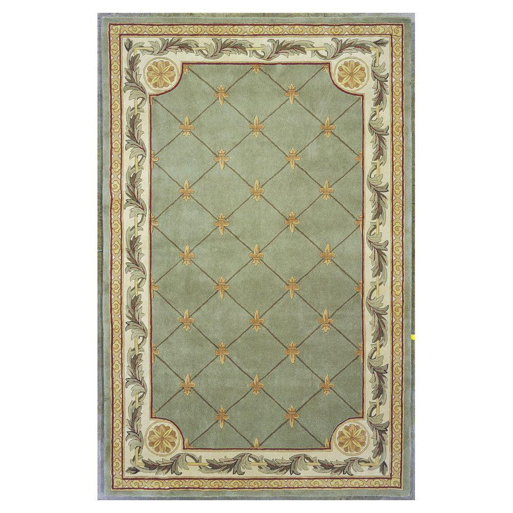 Kas Rugs Antique Fleur-De-Lis Sage 9 ft. 6 in. x 13 ft. 6 in. Area Rug