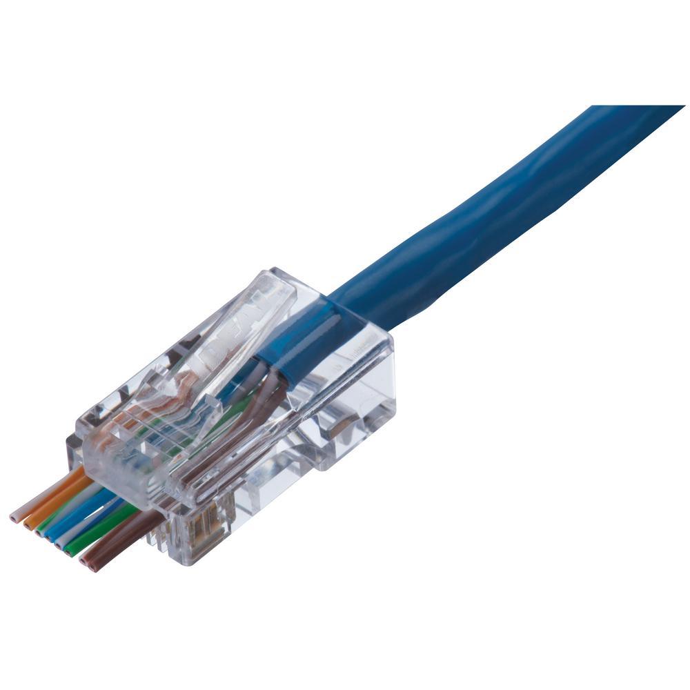 ideal rj45 wiring diagram ideal cat5e feed thru rj 45 modular plug  25 pack  85 370 the  cat5e feed thru rj 45 modular plug