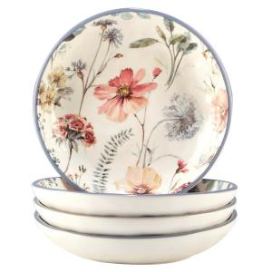 Country Weekend 4-Piece Multi-Colored 9.25 in. x 2 in. Serving/Pasta Bowl Set