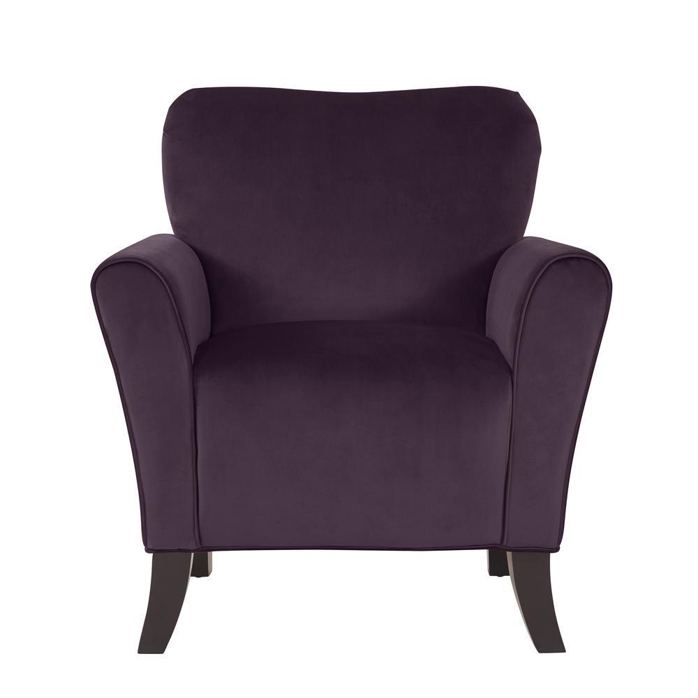 Sasha Aubergine Purple Velvet Flared Arm Chair
