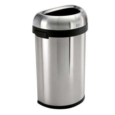 60-Liter/16 Gal. Heavy-Gauge Brushed Stainless Steel Semi-Round Open Top Commercial Trash Can