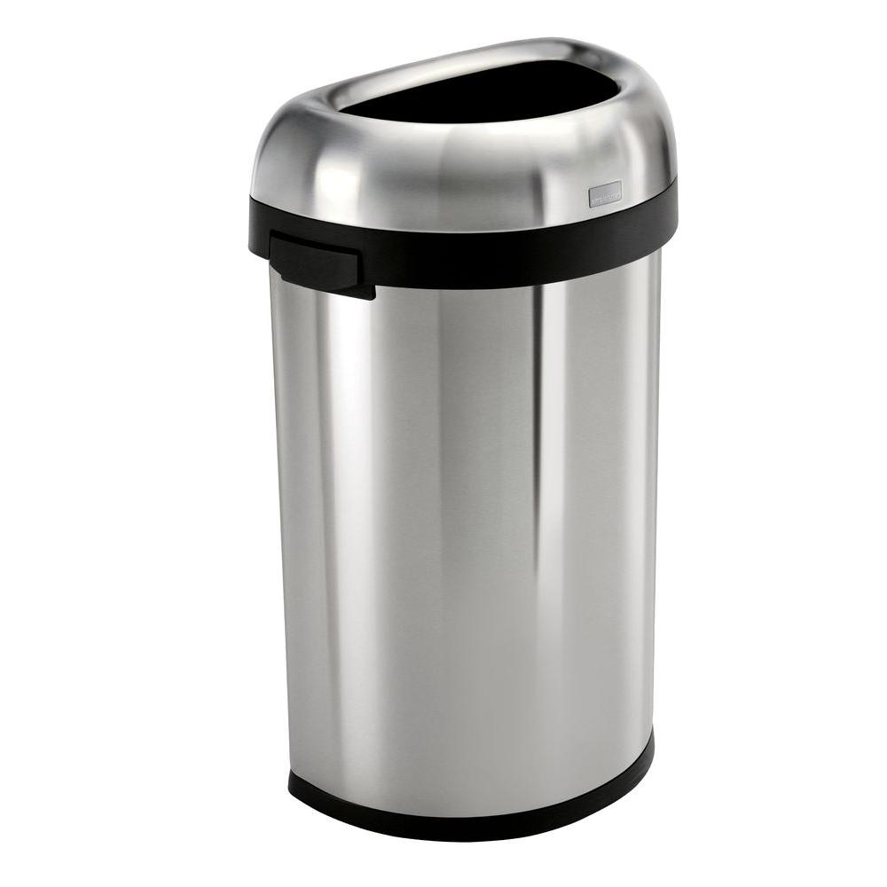 heavy gauge brushed stainless steel semi - Stainless Steel Kitchen Trash Can
