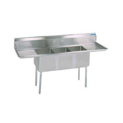 18/304 Freestanding Stainless Steel 90 in. L Triple Bowl Kitchen Sink with Drains