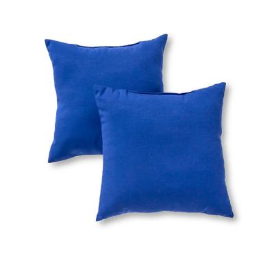 Solid Marine Blue Square Outdoor Throw Pillow (2-Pack)