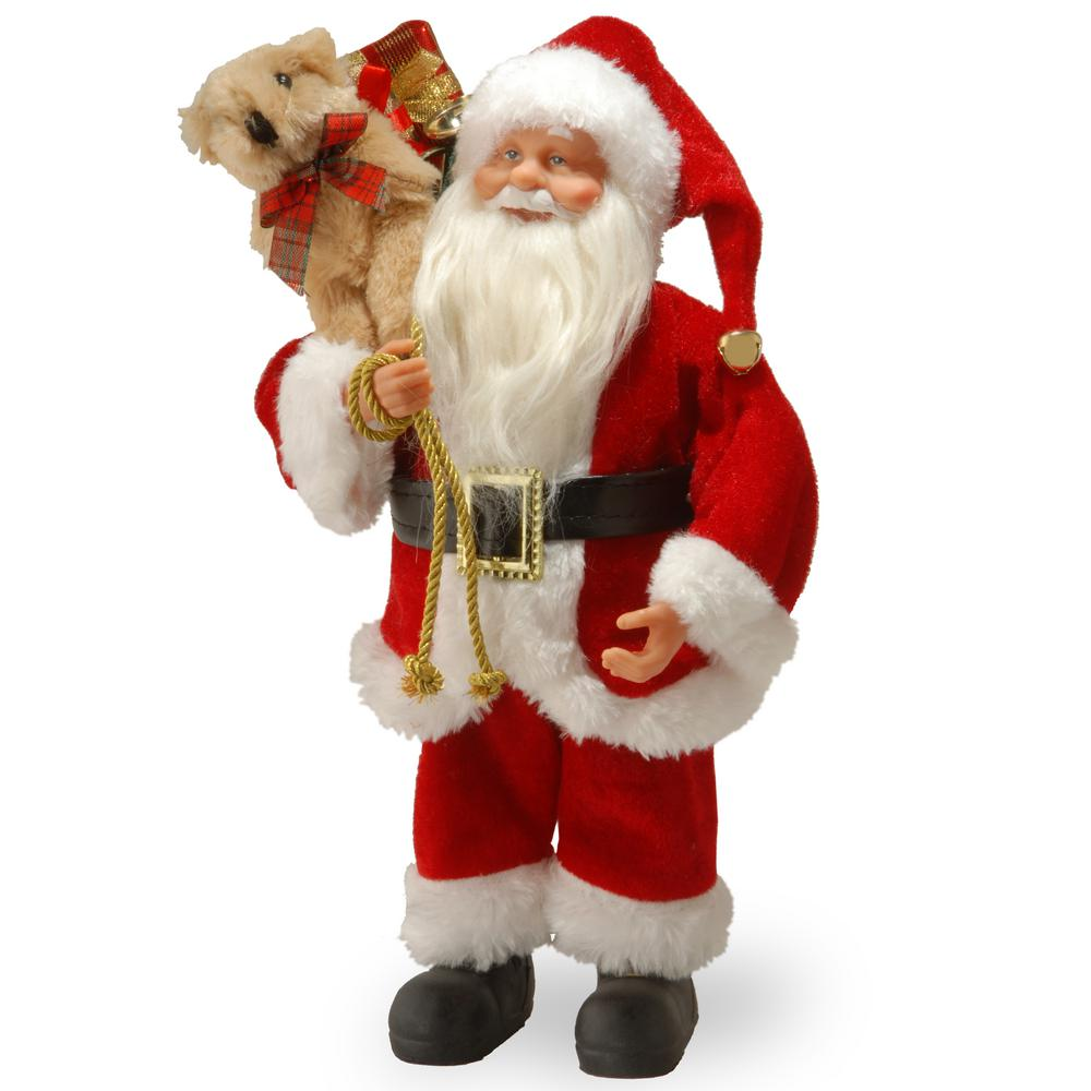 National Tree Company 11.8 in. Standing Santa This Santa figure will add a taste of whimsy to your holiday decorating theme. Santa is wearing his traditional red suit with fluffy white trim. Over his shoulder he carries a sack that is overflowing with toys and gifts. Black boots and belt with buckle complete the ensemble.