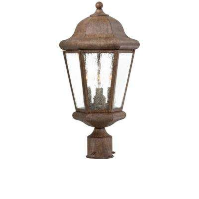 Taylor Court 3-Light Outdoor Vintage Rust Post Mount Lantern