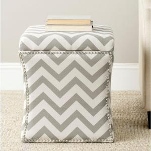 Peachy Safavieh Flora Grey Zigzag Storage Ottoman Mcr4670A The Ocoug Best Dining Table And Chair Ideas Images Ocougorg