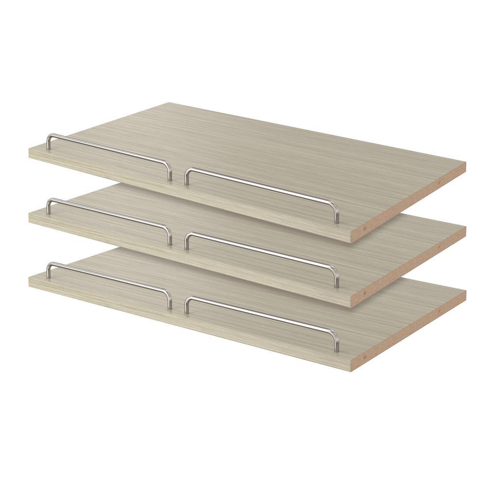 Closet Evolution 14 in. D x 24 in. W x 0.625 in. H 9-Pair Rustic Grey Shoe Shelf (3-Pack)
