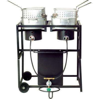 54,000 BTU Propane Gas Dual Burner Outdoor Frying Cart with Two Frying Pans
