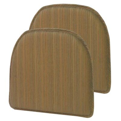 Gripper Non-Slip 15 in. x 16 in. Harmony Olive Stripe Chair Cushions (Set of 2)
