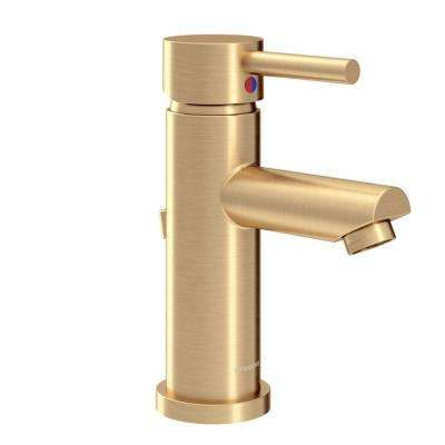 Dia Single Hole Single-Handle Bathroom Faucet with Drain Assembly in Brushed Gold