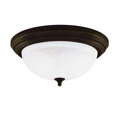3-Light Ceiling Fixture Oil Rubbed Bronze Interior Flush-Mount with Frosted White Alabaster Glass