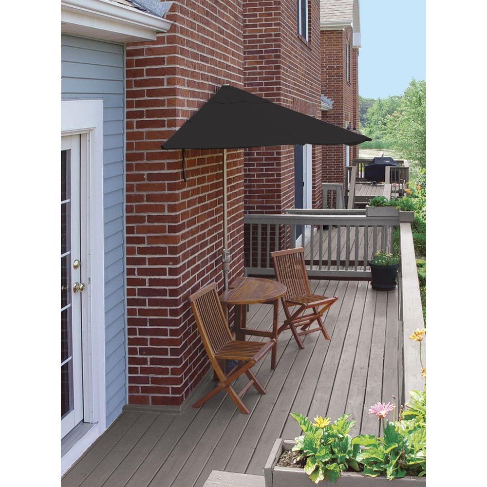 Blue Star Group Terrace Mates Caleo Economy 5-Piece Patio Bistro Set with 7.5 ft. Black Sunbrella Half-Umbrella