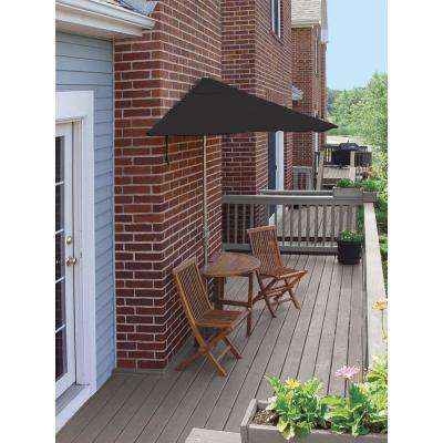 Terrace Mates Caleo Economy 5-Piece Patio Bistro Set with 7.5 ft. Black Sunbrella Half-Umbrella