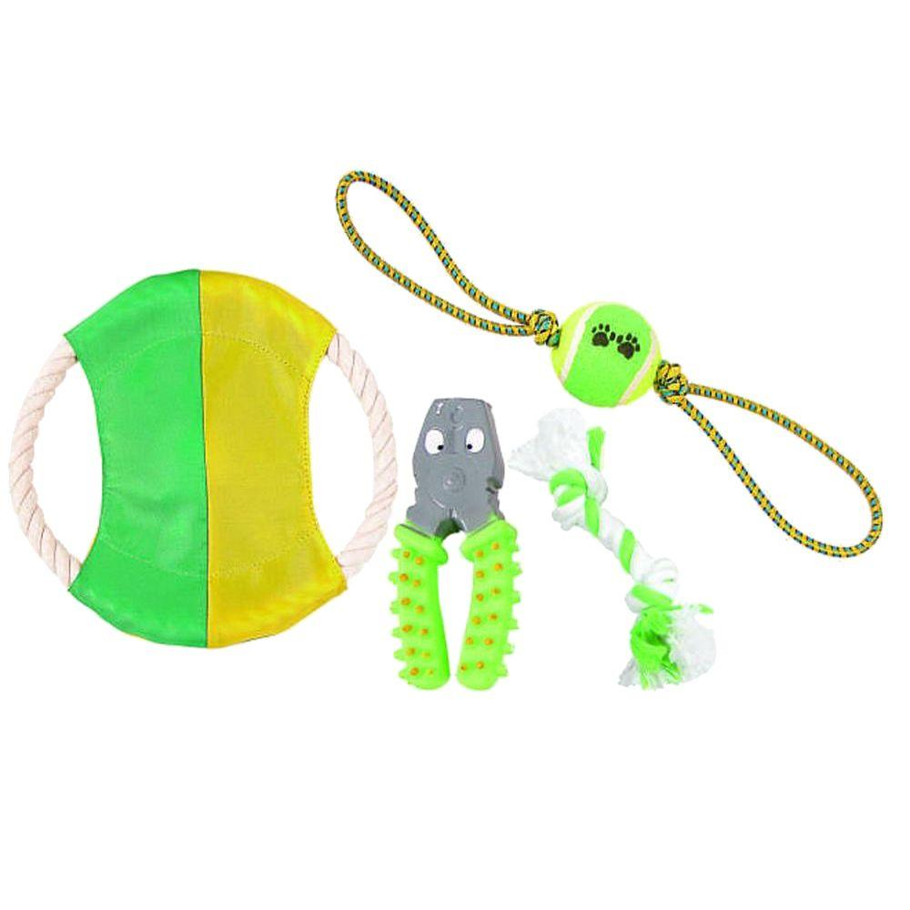 Rope/Rubber/Jute Rope and Tennis Squeak Pet Dog Toy Set in Green/Yellow