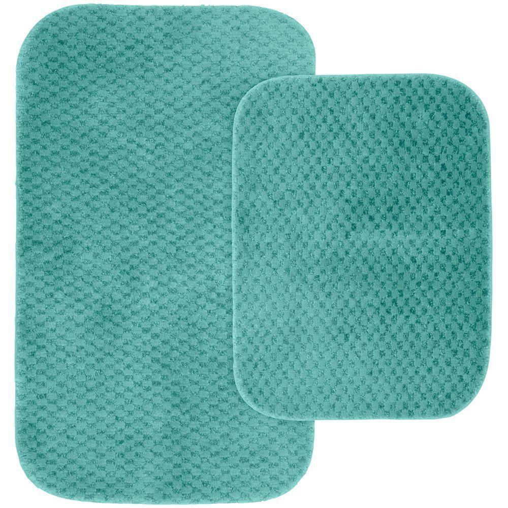 Cabernet Sea Foam 21 in. x 34 in. Washable Bathroom 2-Piece Rug Set