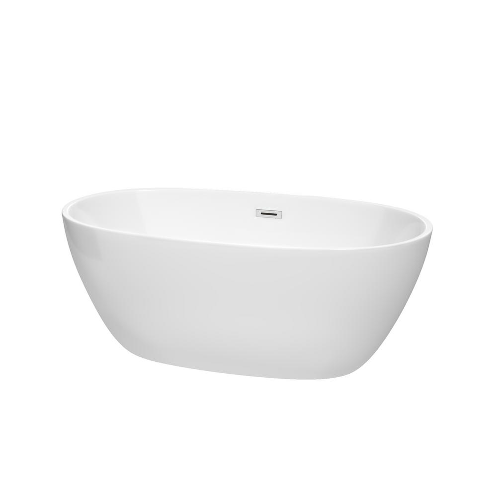 Wyndham Collection Juno 4.9 ft. Acrylic Flat Bottom Non-Whirlpool Bathtub in White with Polished Chrome Trim