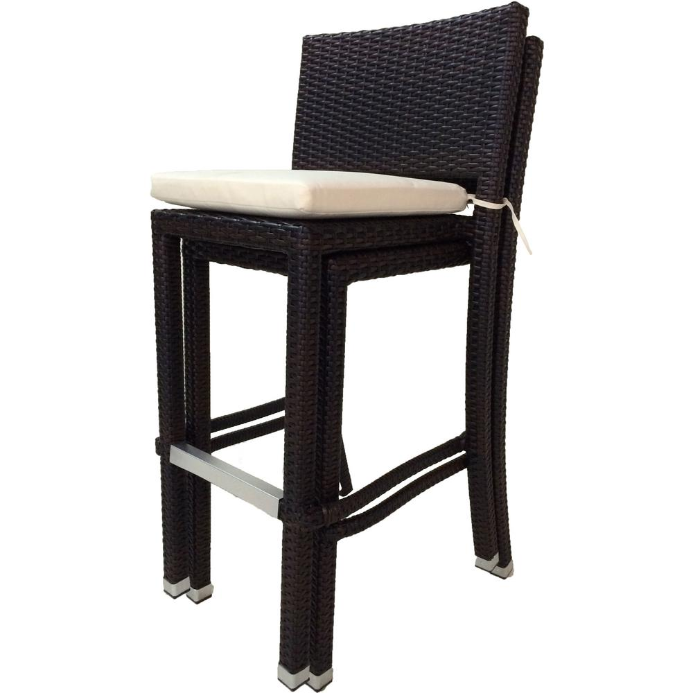 Crescent Stackable Wicker Outdoor Bar Stool with Cream White ...