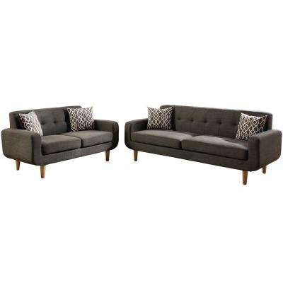 Trentino 2-Piece Ash Black Sofa Set