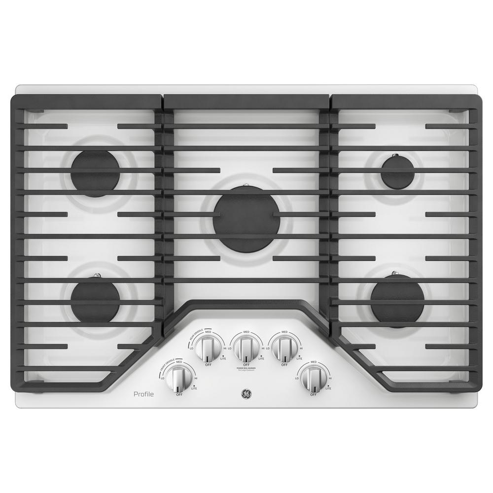 GE Profile 30 in. Gas Cooktop in White with 5-Burners with Rapid Boil Burner Technology