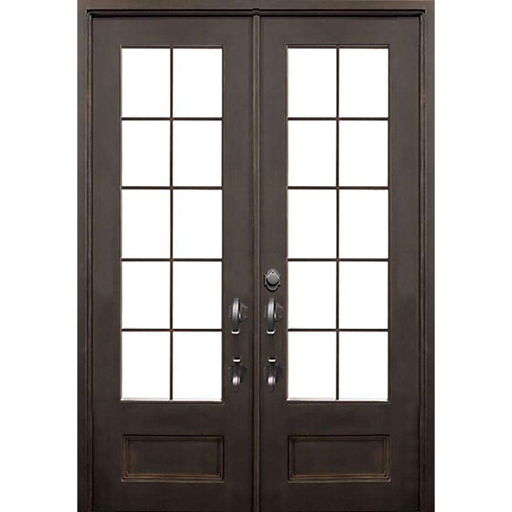 74 in. x 97.5 in. Flat Top Key Largo Dark Bronze 3/4 Lite Painted Wrought Iron Prehung Front Door (Hardware Included)