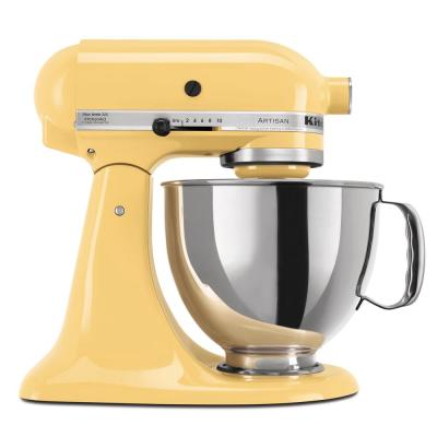 Artisan 5 Qt. 10-Speed Majestic Yellow Stand Mixer with Flat Beater, Wire Whip and Dough Hook Attachments