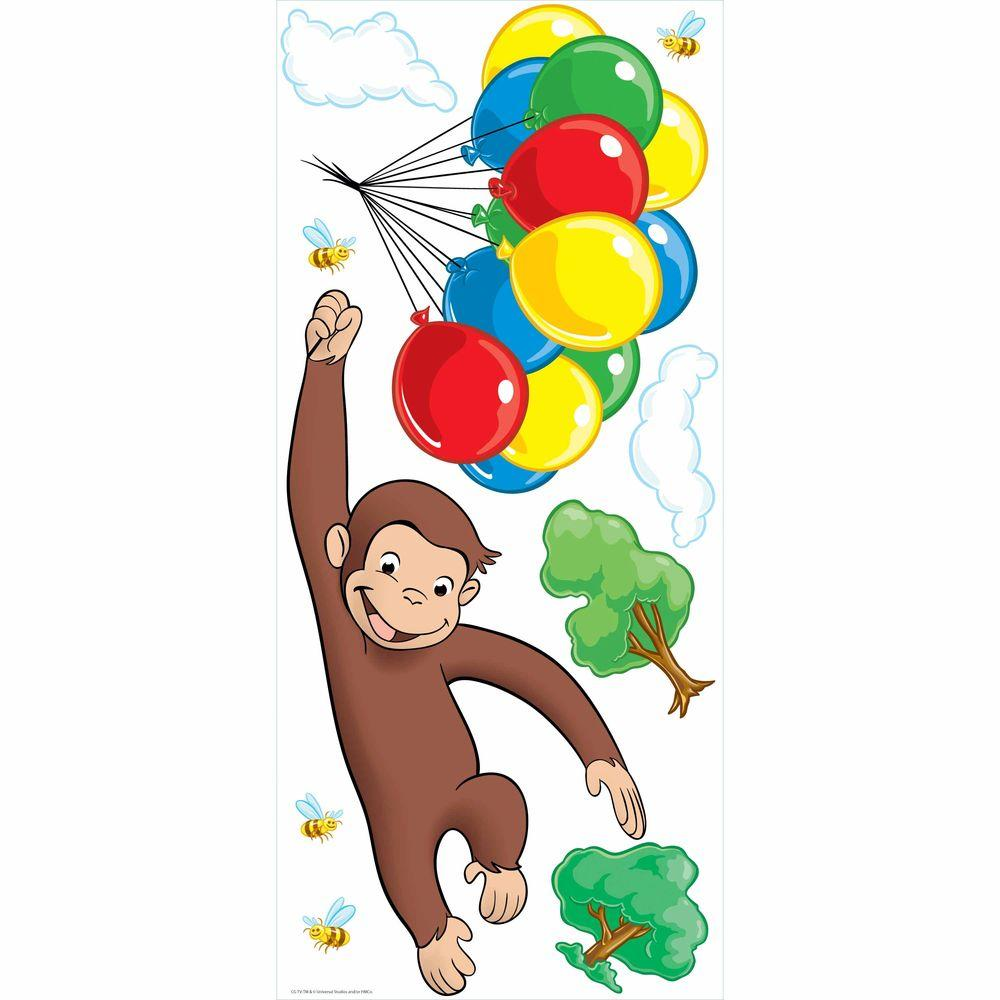 5 in. x 19 in. Curious George Peel and Stick Giant