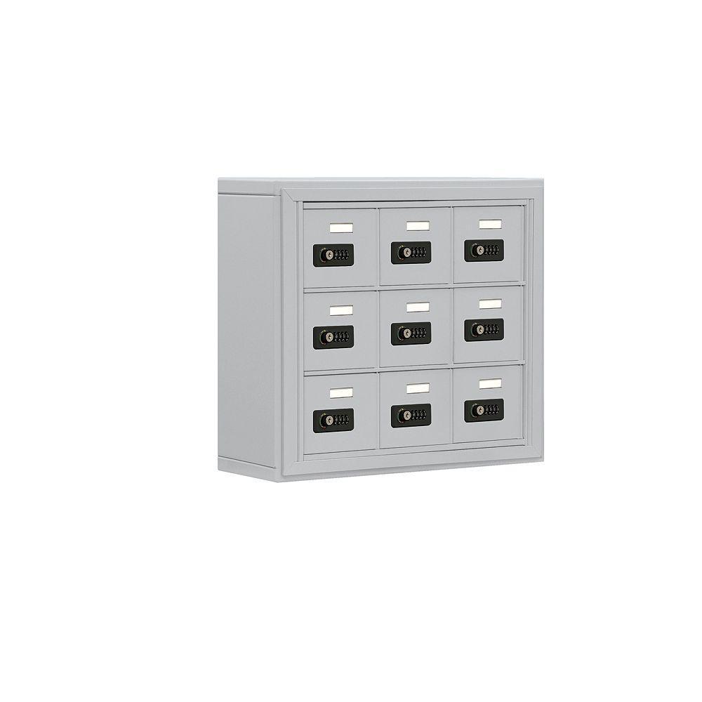 19000 Series 24 in. W x 20 in. H x 6.25 in. D 9 A Doors S-Mount Resettable Locks Cell Phone Locker in Aluminum