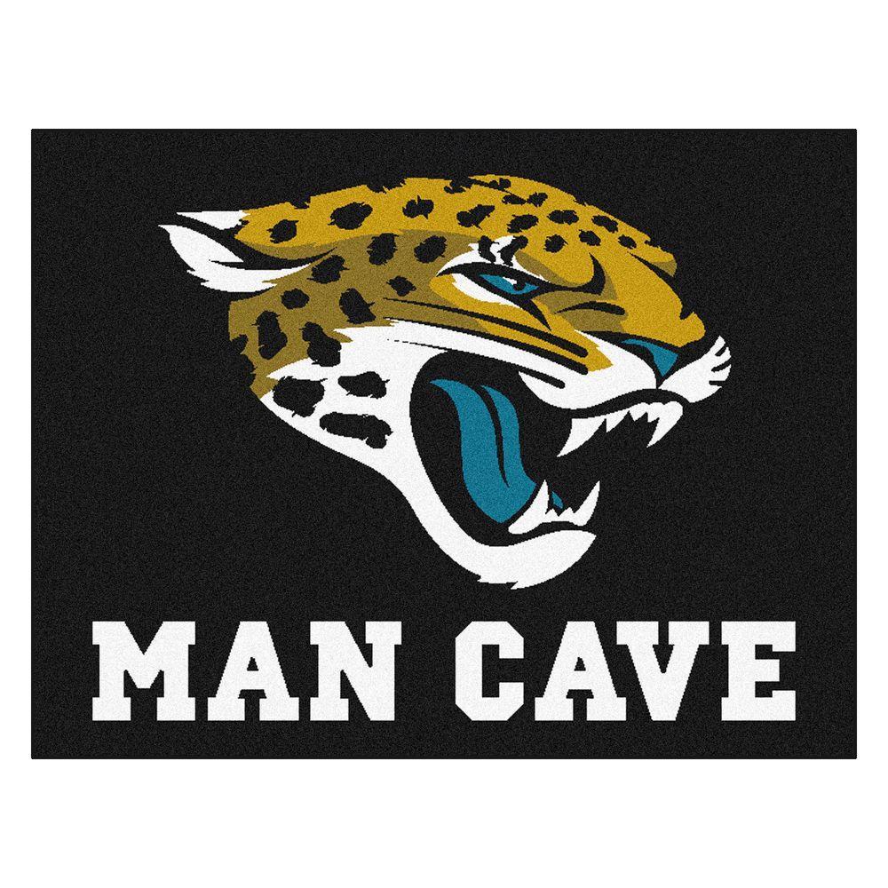 Jacksonville Jaguars Black Man Cave 3 ft. x 4 ft. Area Rug