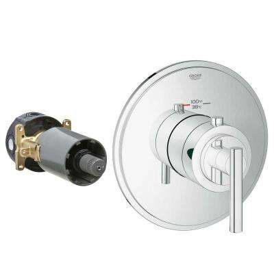 Timeless 1-Handle GrohFlex Universal Rough-In Box High Flow Custom Thermostatic Kit in Chrome