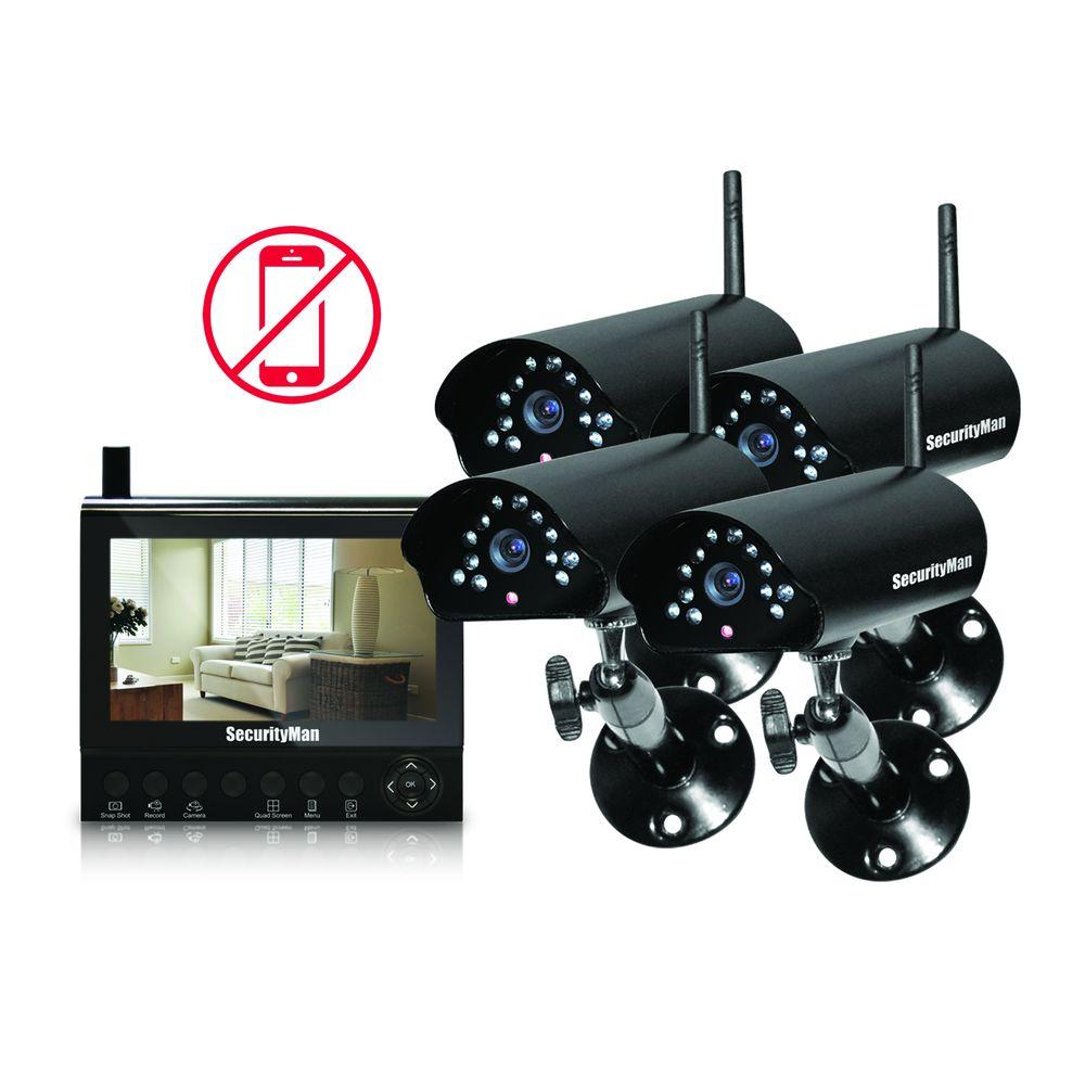 SecurityMan 4-Channel (4) Wireless Security System with 7 in. LCD/SD DVR and Night Vision/Audio