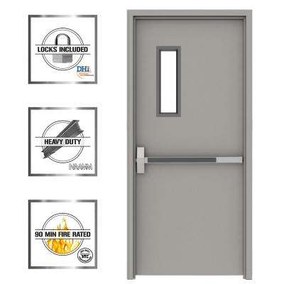 36 in  x 84 in  Gray Flush Exit with 5x20 VL Right-Hand Fireproof Steel  Prehung Commercial Door with Welded Frame