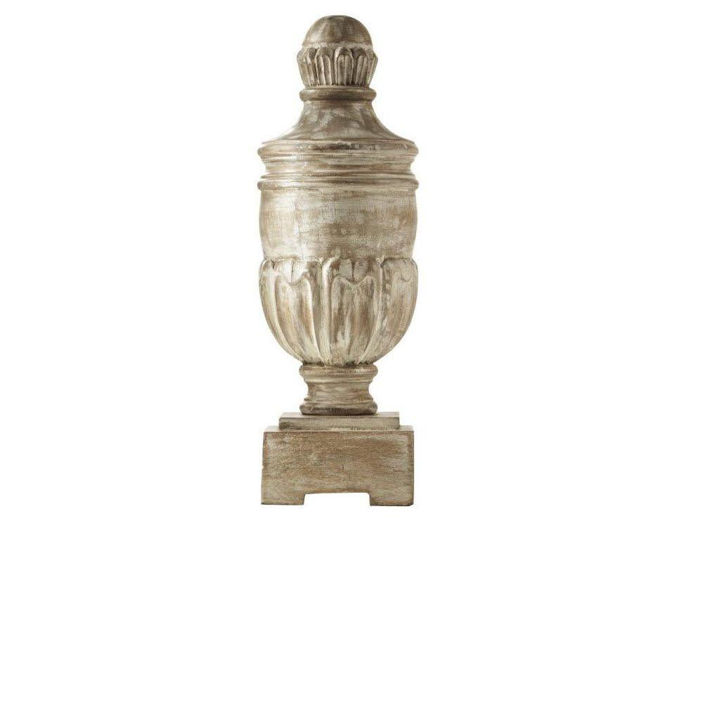 Home Decorators Collection Dapina 16 in. H Decorative Wood Finial in White Wash