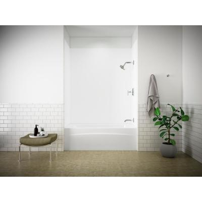 Choreograph 32 in. x 60 in. x 72 in. Bath and Shower Stall with Right Hand Drain Tub in White