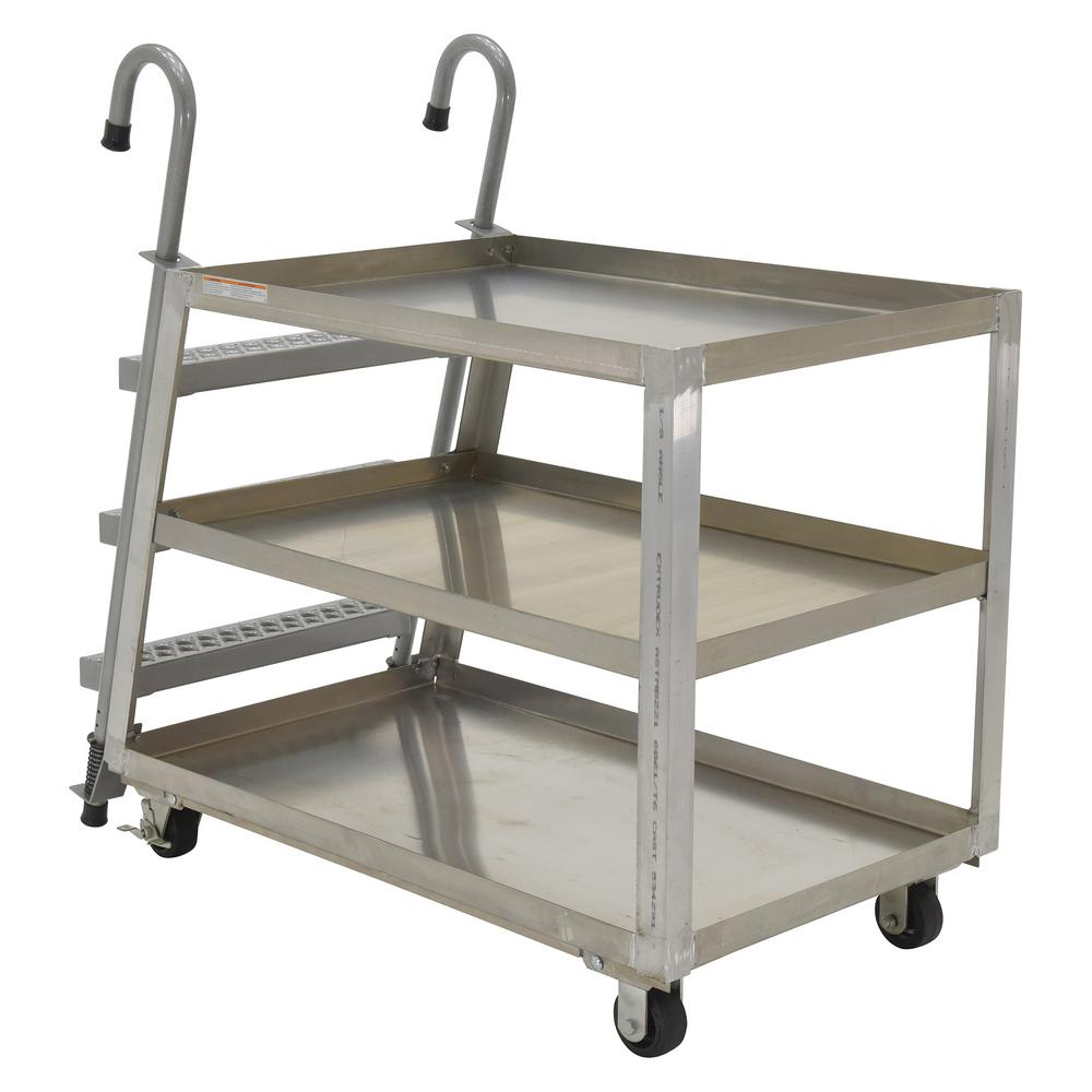 Vestil 28 in. x 48 in. 1,000 lb. 3 Shelf Aluminum Stock P...