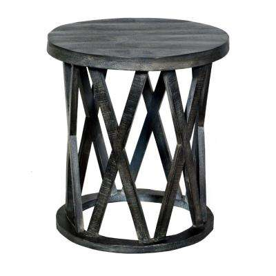 Dark Gray 24 in. Farmhouse Style Round Wooden End Table with Airy Design Base
