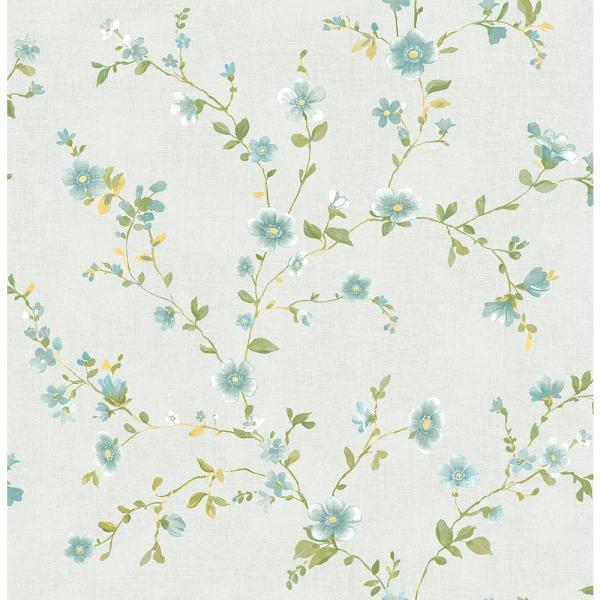 A-Street Delphine Light Blue Floral Wallpaper Sample 2657-22248SAM