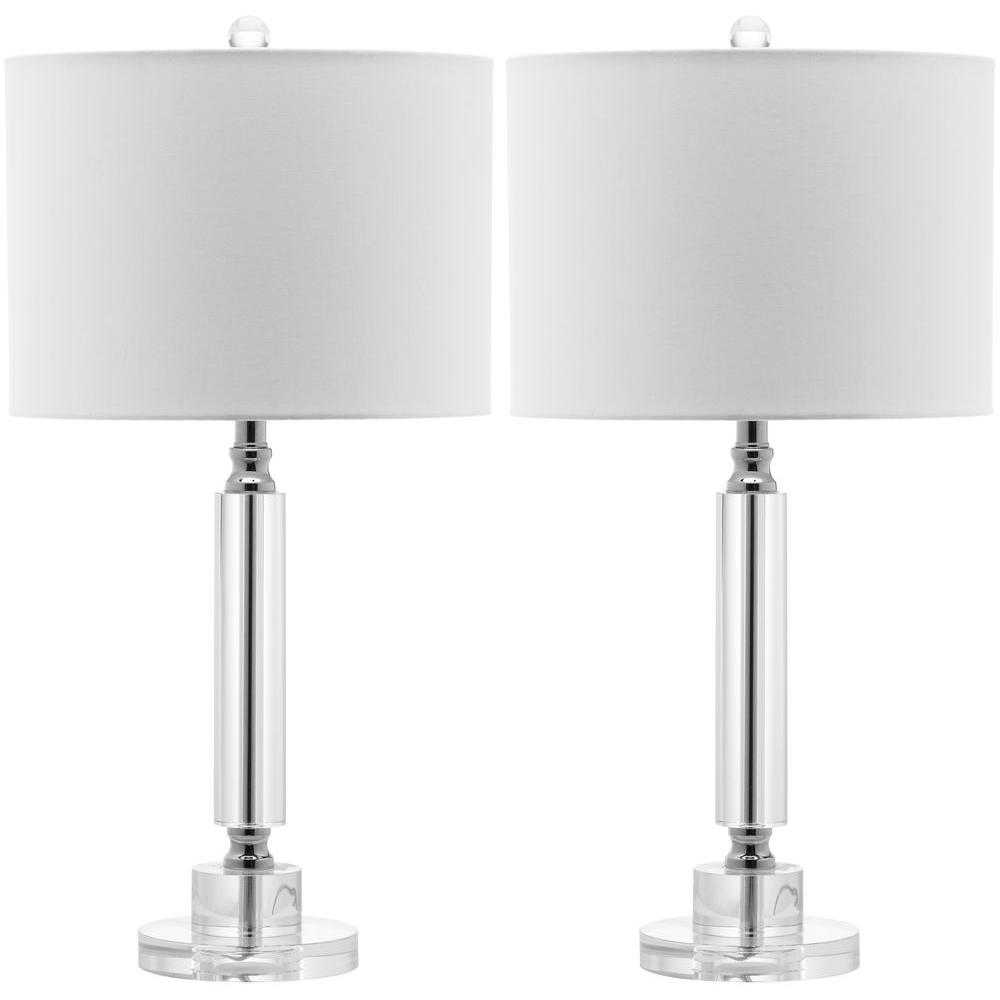 Deco 24.5 in. Clear Column Crystal Lamp (Set of 2)