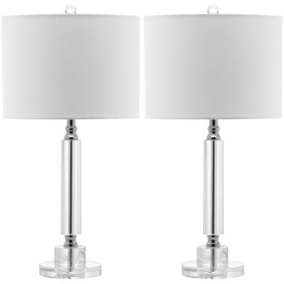 Deco 24.5 in. Clear Column Crystal Table Lamp with White Shade (Set of 2)