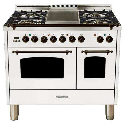 40 in. 4.0 cu. ft. Double Oven Dual Fuel Italian Range True Convection, 5 Burners, Griddle, LP Gas, Bronze Trim in White